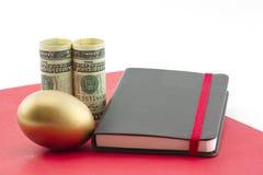 Het gouden ei, de dollars, de rode omslag en het dagboek vormen van gepland succes een weerspiegeling Stock Afbeelding