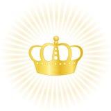 Het gouden embleem van het kroonbedrijf Stock Fotografie