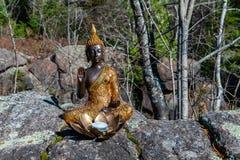 Het gouden en bruine die standbeeld van Boedha en lantaarnkaars in lotusbloembloem op een rots wordt getoond royalty-vrije stock fotografie