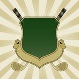 Het gouden en Groene Schild van het Golf Royalty-vrije Stock Foto