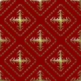 Het gouden en Kastanjebruine Naadloze Patroon van het Damast Royalty-vrije Stock Afbeeldingen