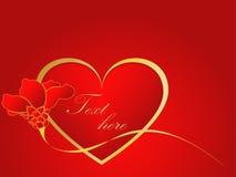 Het gouden en rode liefdehart met nam toe royalty-vrije stock afbeelding