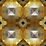 Het gouden en Zilveren Naadloze Patroon van de Bezinning Royalty-vrije Stock Foto