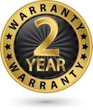 het gouden etiket van de 2 jaargarantie, vectorillustratie Stock Fotografie