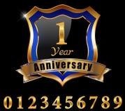 het gouden etiket van de 1 jaarverjaardag, 1st verjaardagsreeks Stock Foto's