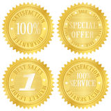 Het gouden etiket van de waarborg Stock Afbeeldingen