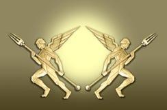 Het gouden frame van de art decoengel w/fork royalty-vrije illustratie