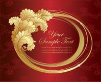 Het gouden frame van de elegantie op rode achtergrond Royalty-vrije Stock Foto's