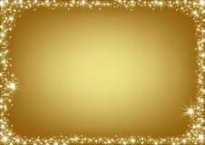Het gouden Frame van Kerstmis Stock Afbeelding