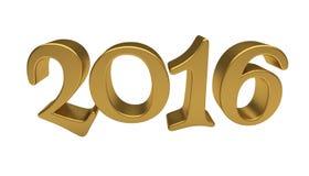 Het gouden geïsoleerd van letters voorzien van 2016 Stock Foto