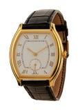 Het gouden geïsoleerde horloge van mensen Stock Foto's