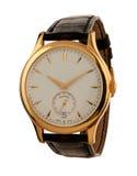 Het gouden geïsoleerde horloge van mensen Stock Fotografie