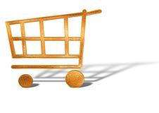 Het gouden geïsoleerded concept van het boodschappenwagentjepictogram vector illustratie