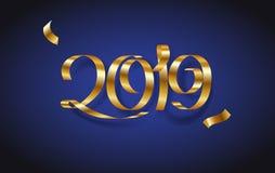 Het gouden Gelukkige nieuwe jaar 2019 van de lintinschrijving op blauwe achtergrond vector illustratie