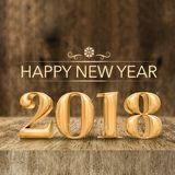 Het gouden glanzende Gelukkige Nieuwe jaar 2018 3d teruggeven bij houten blok tabl royalty-vrije illustratie