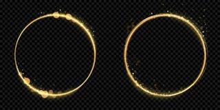 Het gouden goud van het cirkelkader schittert lichte deeltjes vector glanzende fonkelende zwarte achtergrond royalty-vrije illustratie
