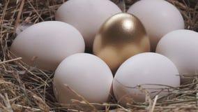 Het gouden Gouden ei van het einest en witte eieren stock videobeelden
