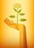 Het gouden hand bloeien Royalty-vrije Stock Afbeeldingen