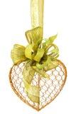 Het gouden Hart van de Draad met Groene Linten Stock Afbeelding