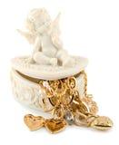 Het gouden hart van de engel stock foto's
