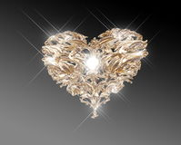 Het gouden hart van de juwelenliefde Stock Afbeeldingen