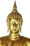 Het gouden hoofd van Boedha dat op witte achtergrond wordt geïsoleerd Stock Afbeelding