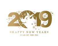 Het gouden hoofd 2019 van het patroonvarken royalty-vrije illustratie