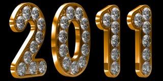 Het gouden jaar van 2011 incrusted met diamanten Royalty-vrije Stock Foto