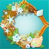 Het gouden kader met een ornament maakte van overzeese shells, koralen, zeester, parels en bloemen met ruimte voor uw tekst stock illustratie