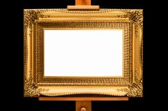 Het gouden Kader van de Rococo'sera op een Schildersezel stock foto
