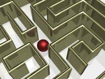 Het gouden labyrint met bezinning. Stock Foto's