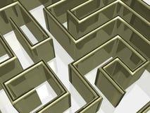Het gouden labyrint met bezinning. Stock Afbeelding