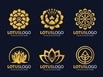 Het gouden Lotus-vastgestelde ontwerp van de embleem vectorkunst Stock Afbeeldingen