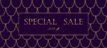 Het gouden malplaatje van de de verkoopbanner van de kettingsluxe Donkere donkerpaarse gouden vissenschalen Promotie commerciële  stock illustratie
