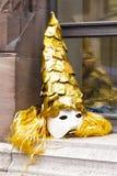 Het gouden masker van Bazel Carnaval 2019 royalty-vrije stock afbeelding