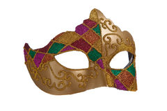 Het gouden masker van mardigra Stock Afbeelding