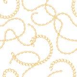 Het gouden metaal ketent naadloos patroon Vector illustratie stock illustratie