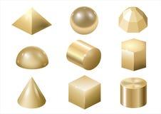 Het gouden metaal vormt 3 vector illustratie