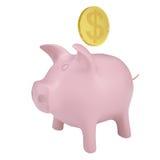 Het gouden muntstuk daalt in een roze spaarvarken Royalty-vrije Stock Afbeeldingen