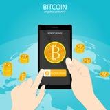 Het gouden muntstuk van de Bitcoinbetaling, bitcoin cryptocurrency digitaal geld wold wijd, mobiele betalingsapp vector stock illustratie