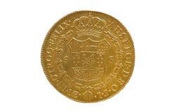 Het gouden muntstuk van Spanje van Carlos III koning, Royalty-vrije Stock Foto