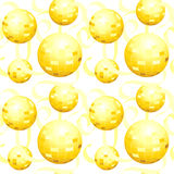Het gouden Naadloze Behang van de Bal van de Spiegel Stock Foto