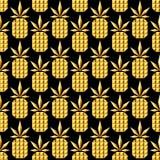 Het gouden naadloze patroon van de juwelenananas royalty-vrije illustratie