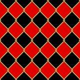 Het gouden naadloze patroon van het draadnet op rode en zwarte romboïden backg Stock Afbeelding