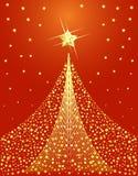 Het gouden ontwerp van de Kerstboom stock illustratie