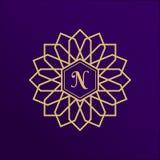Het gouden ontwerp van het stadsembleem Nieuwe Arabische geometrische vector logotype Luxe gouden embleem, merk of firmanaam Rond stock illustratie