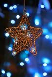 Het gouden ornament van metaalKerstmis Stock Foto