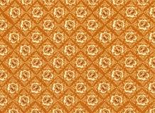 Het gouden Patroon van de Bloem met Bruine Achtergrond Textur Royalty-vrije Stock Afbeelding