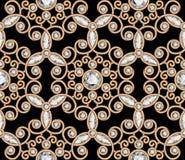 Het gouden patroon van de juwelendiamant Stock Foto's