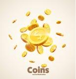 Het gouden pictogram van het muntstukken dalende 3d realistische vectormuntstuk met schaduwen is Stock Foto's